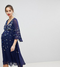 ASOS | Платье миди в стиле кимоно с пайетками ASOS MATERNITY - Темно-синий | Clouty