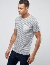 Selected Homme | Футболка в полоску с карманом Selected Homme - Серый | Clouty