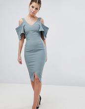 Vesper | Платье-футляр с вырезами на плечах и пышными рукавами Vesper - Зеленый | Clouty