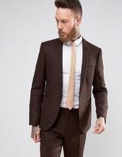 ASOS | Коричневый твидовый пиджак слим из 100% шерсти ASOS - Коричневый | Clouty