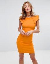 Vesper | Платье-футляр со складками-оригами на плечах Vesper - Оранжевый | Clouty