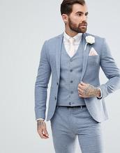 ASOS | Супероблегающий пиджак в клеточку ASOS Wedding - Синий | Clouty