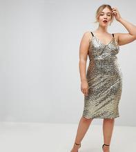 Club L | Платье на бретелях с пайетками Club L Plus - Золотой | Clouty