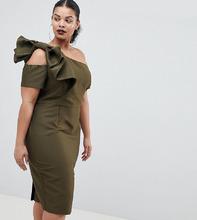 ASOS | Платье на одно плечо с бантом ASOS CURVE - Зеленый | Clouty