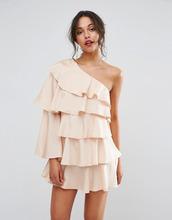 Boohoo | Платье мини на одно плечо с оборками Boohoo - Бежевый | Clouty