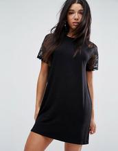 ASOS | Платье-футболка с кружевными рукавами реглан ASOS - Черный | Clouty