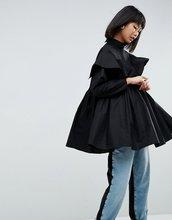 ASOS   Oversize-рубашка с оборками ASOS WHITE - Черный   Clouty