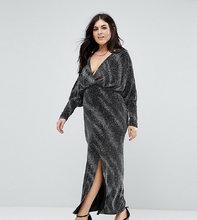 Club L | Платье макси с блестками и запахом Club L Plus - Черный | Clouty