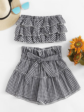 Shein | Tiered Frill Gingham Bandeau Top With Shorts | Clouty