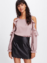 Shein | Open Shoulder Frill Trim Blouse | Clouty