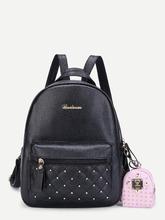 Shein | Studded PU Backpack With Mini Backpack Charm | Clouty