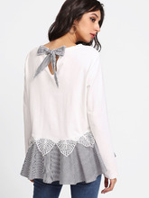 Shein | Lace Applique Tie Back Striped Trim T-shirt | Clouty