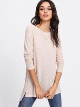 Shein | Stepped Hem Textured Knit T-shirt | Clouty