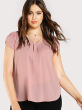Shein | Tulip Sleeve Pleated Neck Top | Clouty