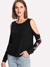 Shein | Flower Applique Open Shoulder Tee | Clouty