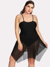 Shein | Asymmetrical Mesh Swim Dress Set | Clouty