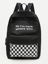 Shein | Slogan Print Gingham Backpack | Clouty