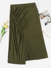 Shein   Split And Ruched Front Skirt   Clouty