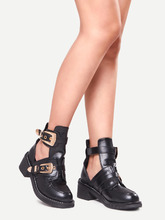 Shein | Buckle Strap Chunky Heel Shoes | Clouty