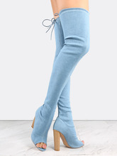 Shein | Blue Denim Peep Toe Chunky Heel Over The Knee Boots | Clouty