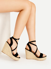 Shein | Cross Strap Espadrille Wedges | Clouty