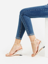 Shein | Metal Buckle Strappy Wedge Sandals | Clouty