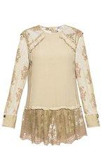 Elisa Cavaletti | Elisa Cavaletti Блуза из шелка с кружевными и жатыми вставками 191187 | Clouty