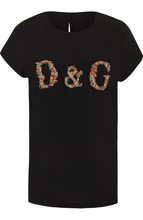 Dolce & Gabbana | Шелковый топ прямого кроя с вышитым логотипом бренда Dolce & Gabbana | Clouty