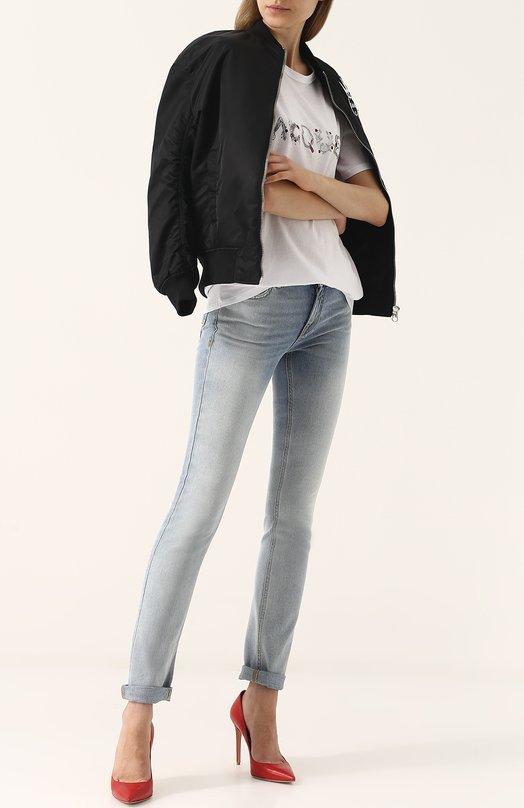GIVENCHY | Голубой Джинсы прямого кроя с потертостями Givenchy | Clouty