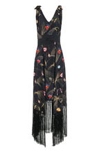 FENDI   Шелковое платье с принтом и бахромой Fendi   Clouty