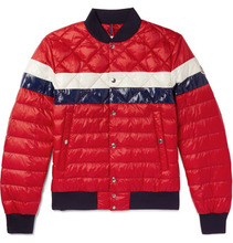 MONCLER | Itiner Striped Quilted Shell Down Bomber Jacket | Clouty
