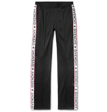 GIVENCHY | Rubber-appliqued Fleece-back Satin-jersey Trousers | Clouty