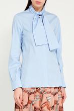 GUCCI | Голубая блузка с пришивным шарфом | Clouty