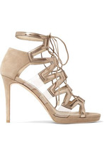 Jimmy Choo | Jimmy Choo Woman Dani Lace-up Suede And Patent-leather Sandals Neutral Size 36 | Clouty