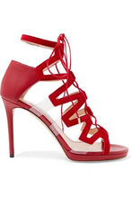 Jimmy Choo | Jimmy Choo Woman Dani Leather, Suede And Pvc Sandals Red Size 38 | Clouty