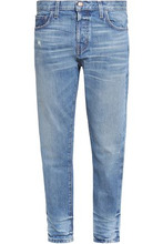 Current/Elliott | Current/elliott Woman Distressed Mid-rise Slim-leg Jeans Mid Denim Size 27 | Clouty