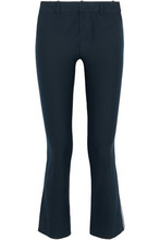 Derek Lam 10 Crosby | Derek Lam 10 Crosby Woman Cropped Cotton-blend Twill Flared Pants Midnight Blue Size 2 | Clouty