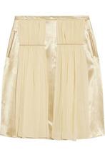 CHRISTOPHER KANE | Christopher Kane Woman Chiffon-paneled Satin Skirt Ivory Size 12 | Clouty