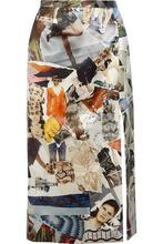 CHRISTOPHER KANE | Christopher Kane Woman Printed Duchesse-satin Midi Skirt White Size 14 | Clouty