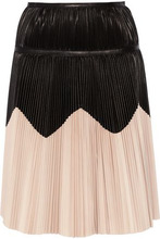 Alexander McQueen | Alexander Mcqueen Woman Pleated Two-tone Leather Skirt Black Size 38 | Clouty
