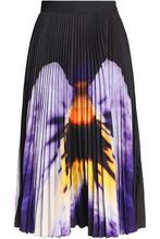 CHRISTOPHER KANE | Christopher Kane Woman Printed Plisse Cady Midi Skirt Black Size 12 | Clouty