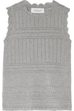 Derek Lam 10 Crosby | Derek Lam 10 Crosby Woman Open Knit-trimmed Cotton-jersey Sweater Gray Size M | Clouty