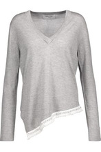 Derek Lam 10 Crosby | Derek Lam 10 Crosby Woman Asymmetric Embellished Silk And Cashmere-blend Sweater Gray Size L | Clouty