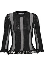 Derek Lam 10 Crosby | Derek Lam 10 Crosby Woman Ruffled Paneled Crochet And Pointelle-knit Sweater Black Size M | Clouty