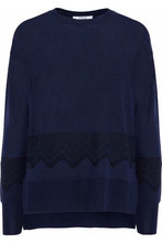 Derek Lam 10 Crosby | Derek Lam 10 Crosby Woman Lace-appliqued Silk And Cashmere-blend Top Midnight Blue Size L | Clouty