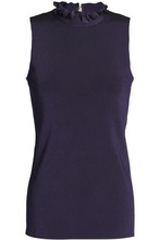 NINA RICCI | Nina Ricci Woman Ruched Ribbed-knit Top Dark Purple Size L | Clouty