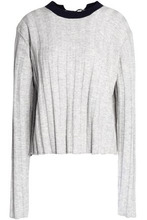 Derek Lam 10 Crosby | Derek Lam 10 Crosby Woman Buckle-detailed Ribbed-knit Wool-blend Sweater Blue Size L | Clouty