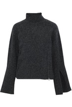 Derek Lam 10 Crosby | Derek Lam 10 Crosby Woman Zip-embellished Melange Wool-blend Turtleneck Sweater Dark Gray Size S | Clouty