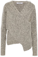 Derek Lam 10 Crosby | Derek Lam 10 Crosby Woman Wrap-effect Marled Boucle-knit Sweater Light Gray Size XS | Clouty