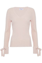 Derek Lam 10 Crosby | Derek Lam 10 Crosby Woman Bow-embellished Ribbed Wool-blend Sweater Pastel Pink Size M | Clouty